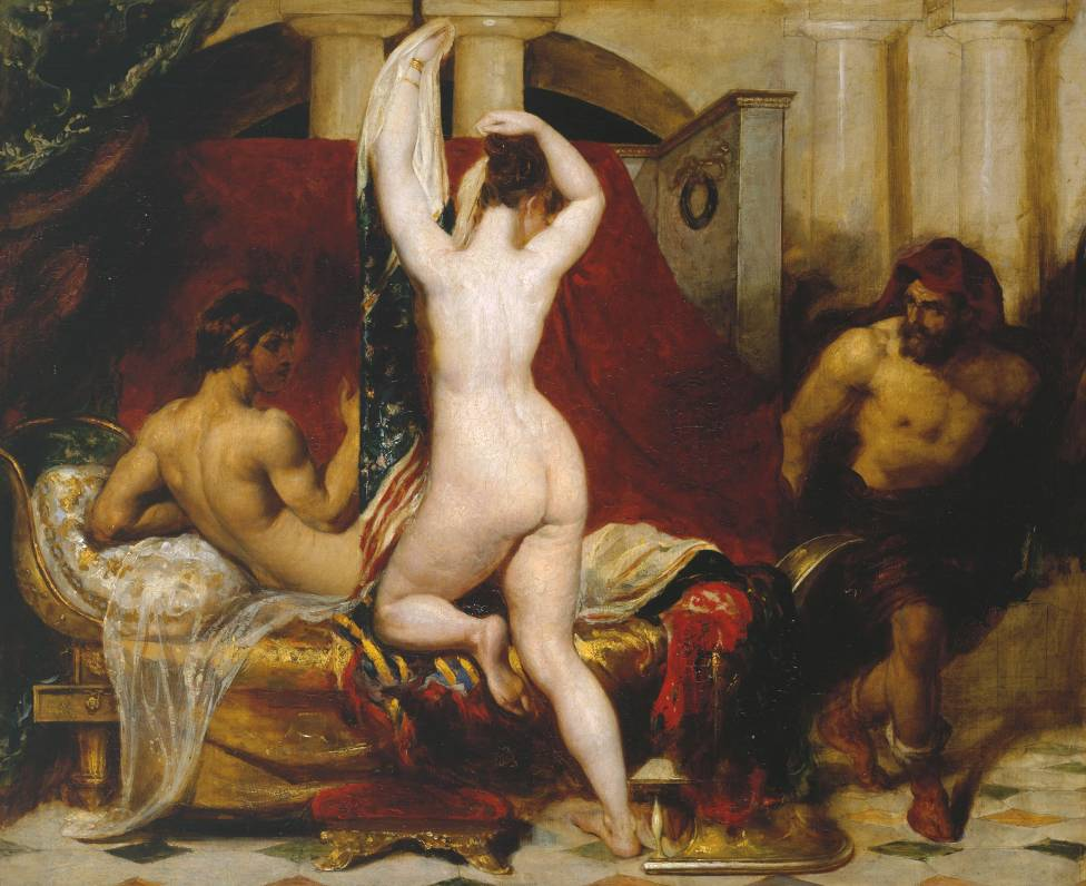 Candaules, King of Lydia, Shews his Wife by Stealth to Gyges, One of his Ministers, as She Goes to Bed exhibited 1830 by William Etty 1787-1849