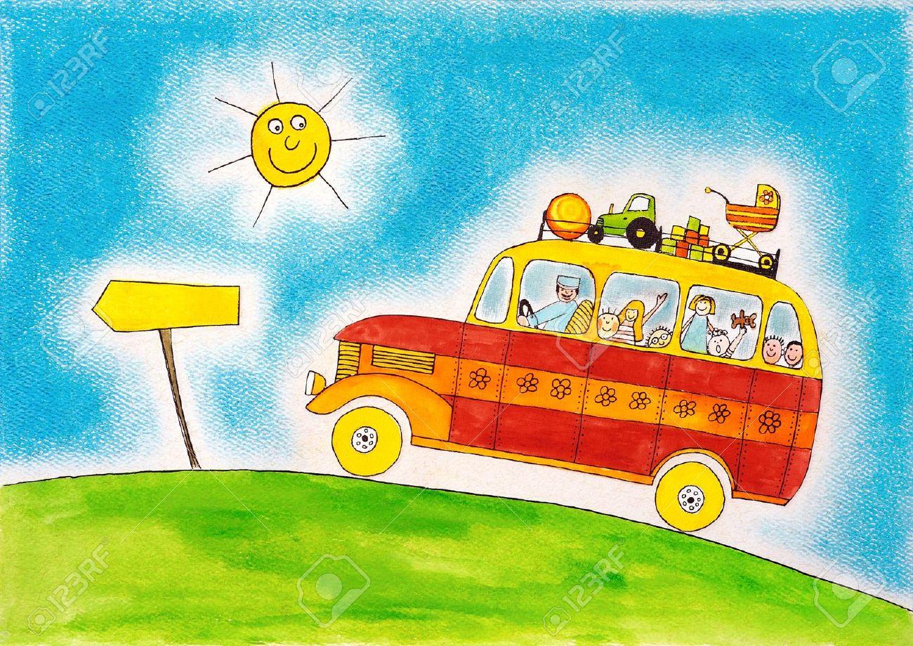 18459578-voyage-en-autobus-scolaire-dessin-d-enfant-s-peinture-à-l-aquarelle-sur-papier