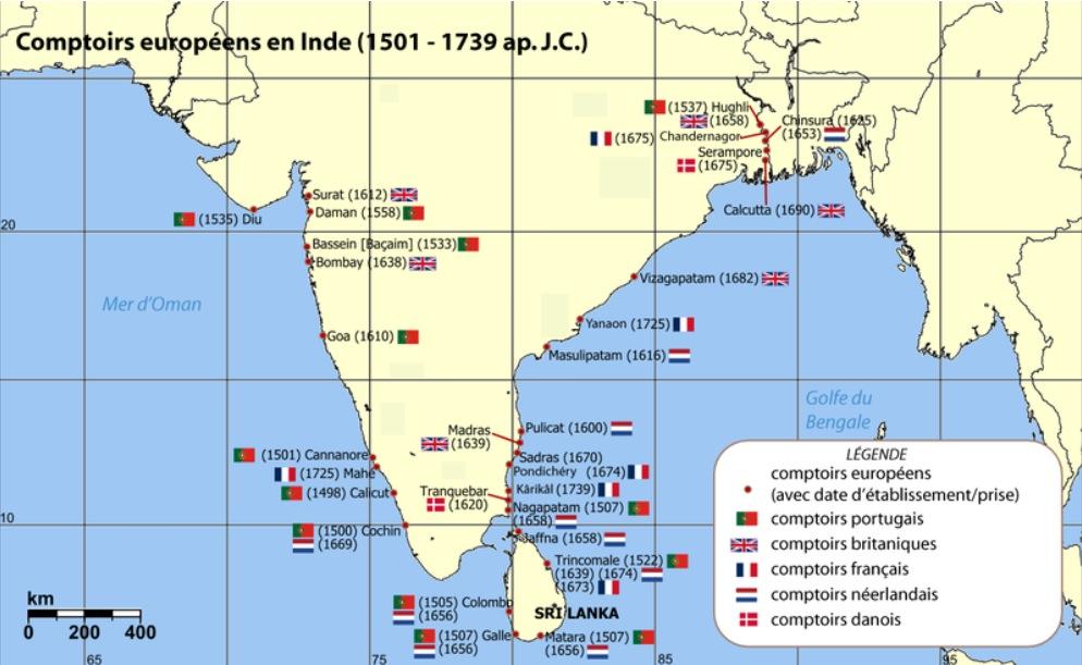 Les comptoires en Inde
